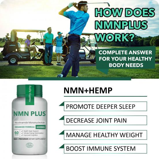 NMN PlUS Maximum Strength NMN Capsules with Hemp, 600mg Per Serving, 60 Capsules