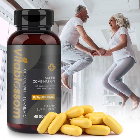 Vitablossom 83% C-B-D Oil 60000mg Turmeric 60 Hemp oil Softgels, New Arrival promotion
