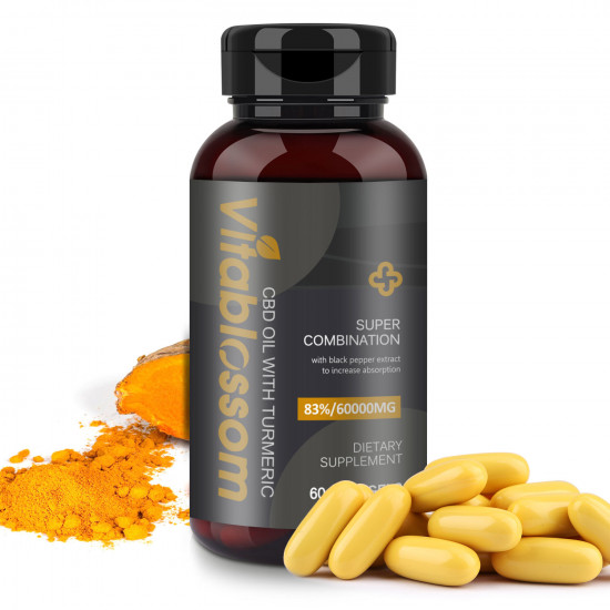 Vitablossom 83% C-B-D Oil 60000mg Turmeric 60 Hemp oil Softgels, New Arrival promotion