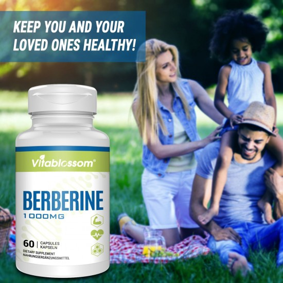 Vitablossom Premium Berberine 1000mg HCL Complex Supplement with Silymarin for Better Absorption, New Arrival promotion
