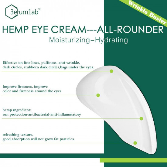 3erum1ab Hemp Eye Cream Anti-wrinkle, Minimize Puffiness, Dark Circles.