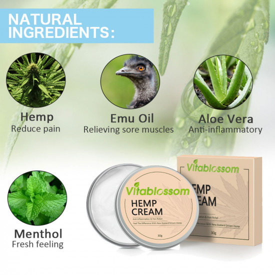 Vitablossom Pain Relief & Anti-inflammatory Hemp Cream - New and old mixed for sale *