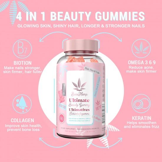 Benehemp hair vitamin gummies 15000mcg biotin, 2021 revolutionary formula