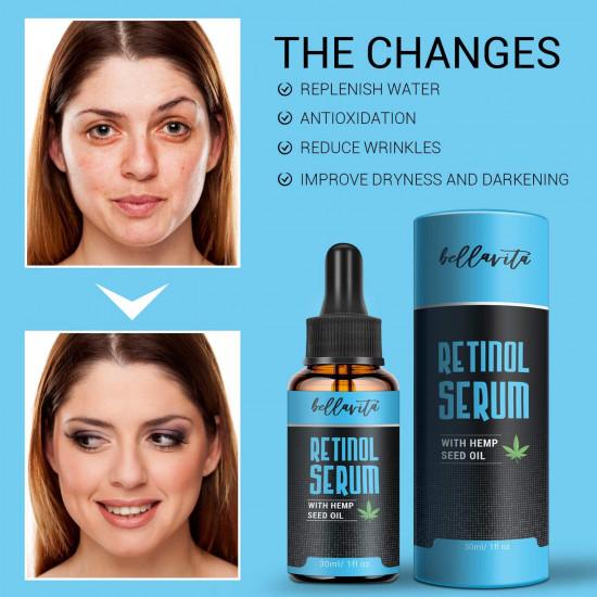 Bellavita Hemp Retinol Serum with Hemp Seed Oil, Anti Aging, Anti-inflammatory