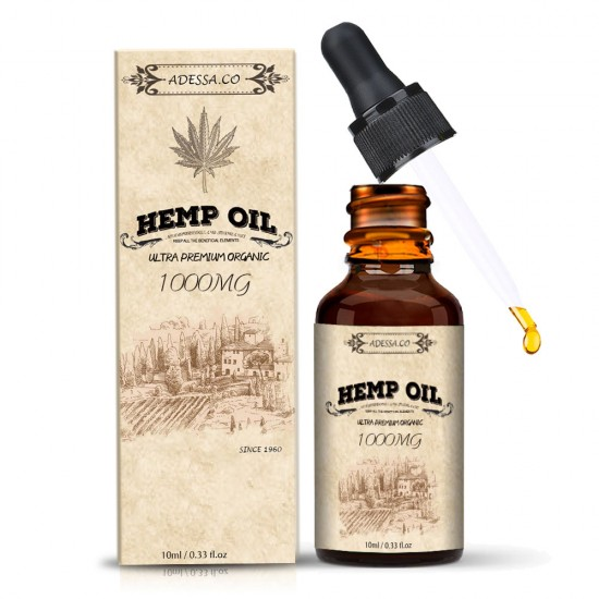 ADESSA.CO 1000mg High Strength Hemp Extract, Broad Spectrum Extract Hemp Oil, Made in Slovenia