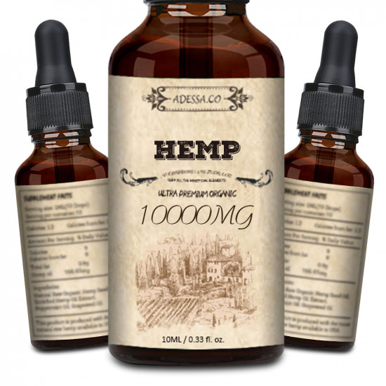 ADESSA.CO 10000mg High Strength Hemp Extract, Broad Spectrum Extract Hemp Oil, Made in Slovenia