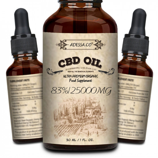 ADESSA.CO C-B-D oil Drops, 25000mg 83% 30ml, Made in Slovenia, 2020 New formula