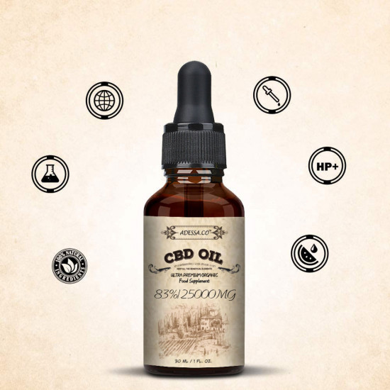 [Out of Stock in UK] ADESSA.CO C-B-D oil Drops, 25000mg 83% 30ml, Made in Slovenia, 2020 New formula
