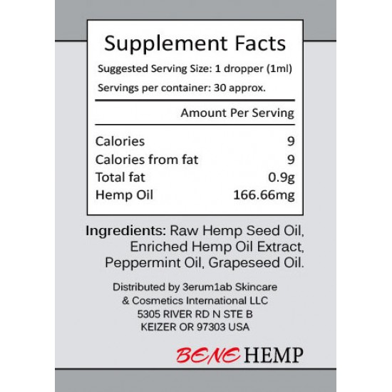 BENEHEMP Broad Spectrum Hemp Oil Drops, High Strength Hemp Extract(5000mg)