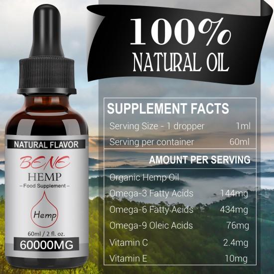 BENEHEMP Broad Spectrum Hemp Oil Drops, High Strength Hemp Extract(60000 mg)