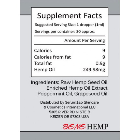 BENEHEMP Hemp Oil Drops, Broad Spectrum Extract Hemp Seed Oil(7500mg)