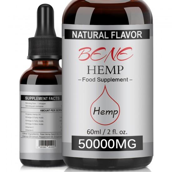 BENEHEMP Hemp Oil Drops 50000mg 60ml