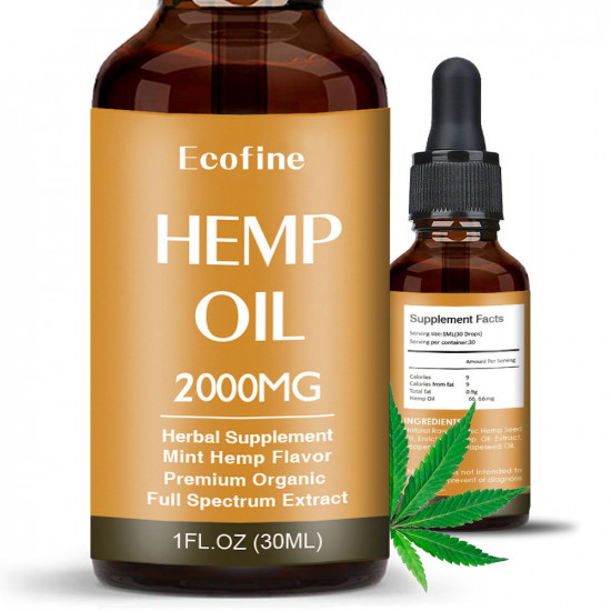 Ecofine 2000mg 30ml Broad Spectrum Hemp Oil, High Strength Extract Pure Organic Hemp Oil - Made in USA