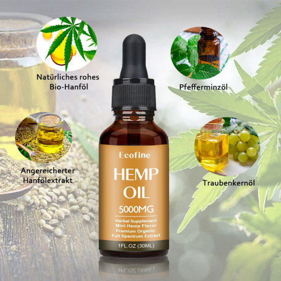 Ecofine 5000mg 30ml Broad Spectrum Hemp Oil, High Strength Extract Pure Organic Hemp Oil - Made in New Zealand