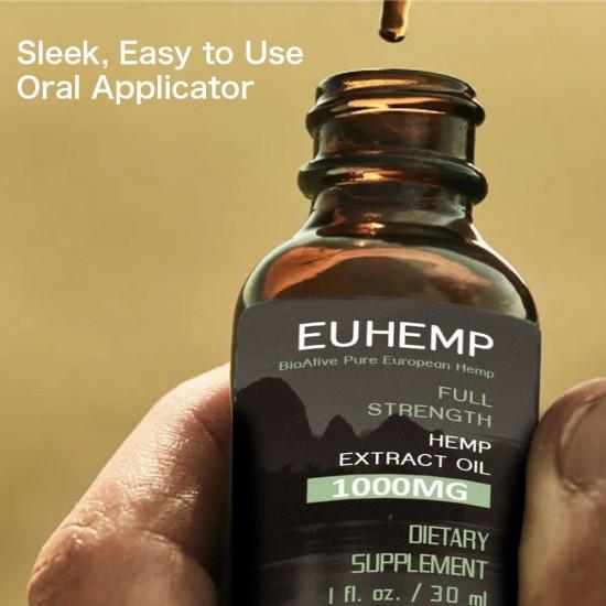 Hemp Oil Drops 1000MG, Full Strength,30ML - EUHEMP Oil