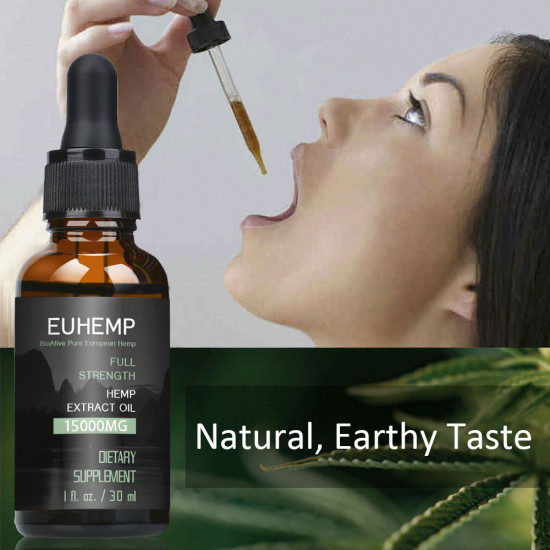Hemp Oil Drops 15000MG, Full Strength,30ML - EUHEMP Oil