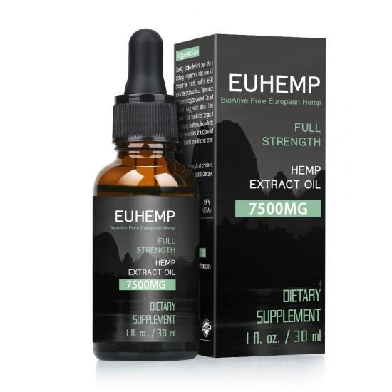 EUHEMP Hemp Oil Drops 7500MG, Full Strength, Dropper Included, 30ML