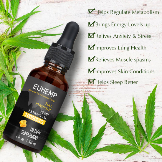 Hemp Oil Drops 10000MG, Made with Hemp Grown in Nature, Non-GMO, No Fillers, 30ML - EUHEMP Oil