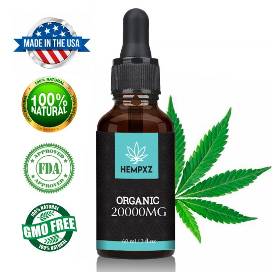 HEMPXZ 20000mg Broad Spectrum Hemp Extract, Natural Hemp Oil for Better Sleep - Made in USA