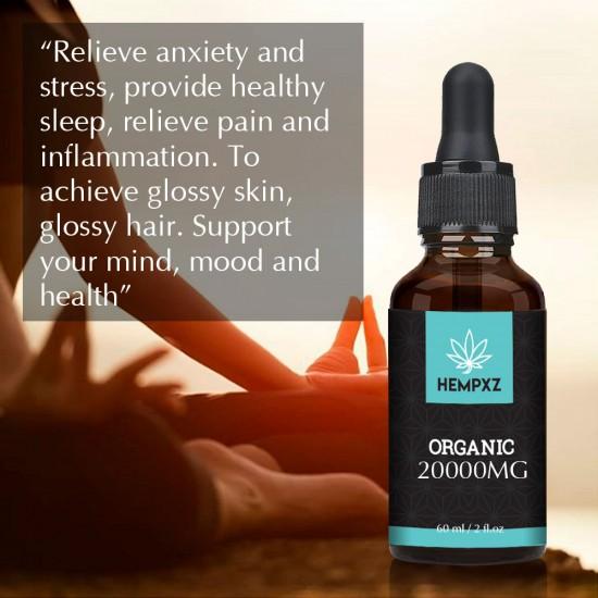HEMPXZ 20000mg Broad Spectrum Hemp Extract, Natural Hemp Oil for Better Sleep - Made in USA