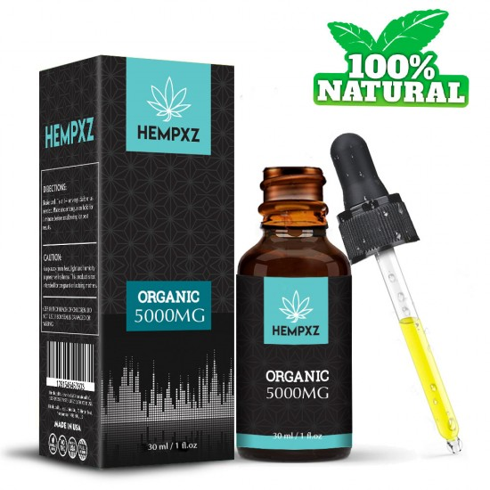 HEMPXZ Broad Spectrum Hemp Extract 5000mg, Natural CO2 Extracted-100% Organic - Made in USA