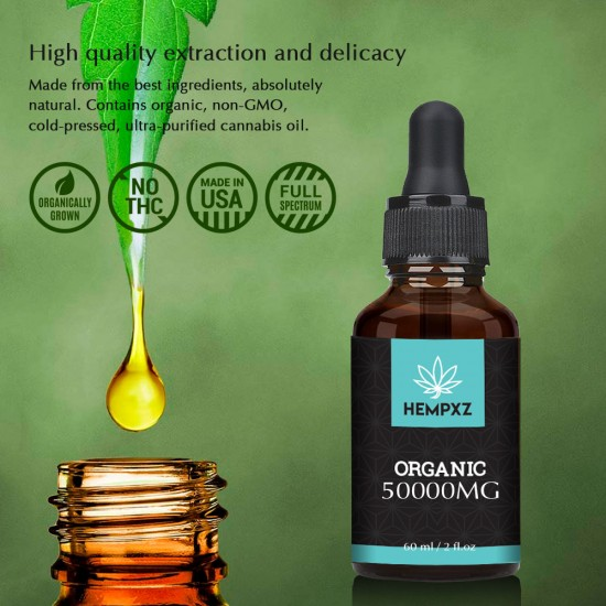 HEMPXZ Hemp Oil Drops, 50000mg 83% 60ml, New and old packaging mixed for sale *