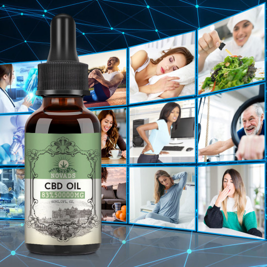 Novads C-B-D oil Drops, 50000mg 83% 60ml, 2020 New formula
