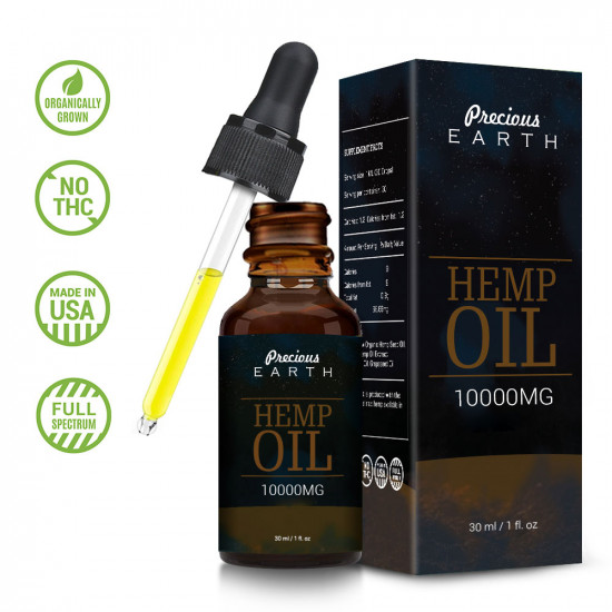 Precious Earth 10000mg, Broad Spectrum Hemp Oil Extract, Premium Organic Extracts, Made in USA