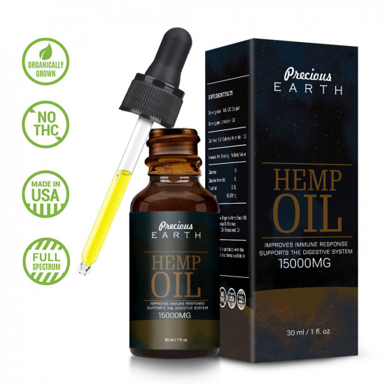 Precious Earth 15000mg, Broad Spectrum Hemp Oil Extract, Premium Organic Extracts, Made in USA