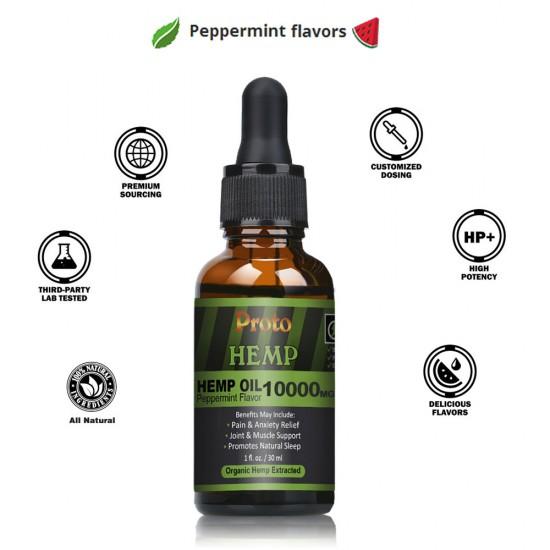 Hemp Oil Drops, 10000mg, Vegan & Vegetarian, 30ml - ProtoHemp Oil