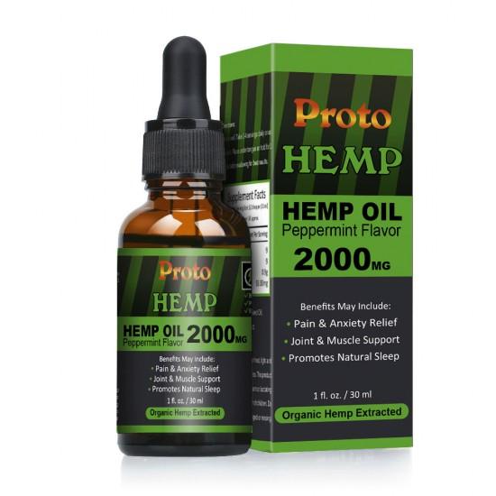 ProtoHemp Hemp Oil Drops, 2000mg High Strength 30ml