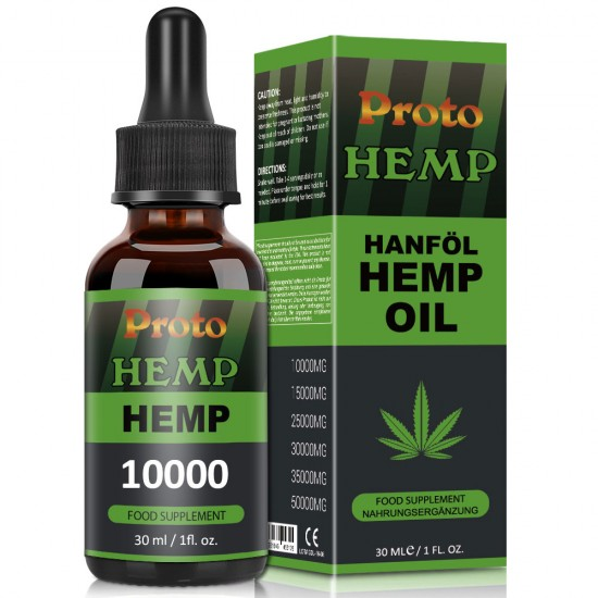 Proto Hemp Oil Drops, 10000mg 30ml 33%, Vegan & Vegetarian