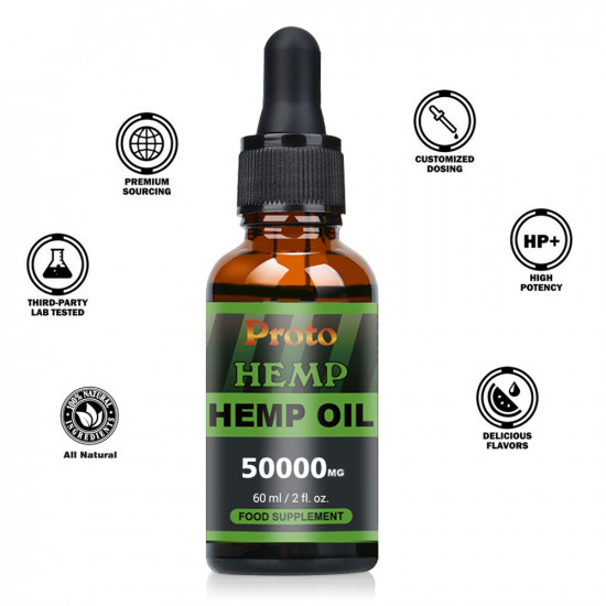 ProtoHemp Hemp Oil Drops, 50000mg, CO2 Extracted, 60ml