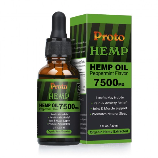 ProtoHemp Hemp Oil Drops, 7500mg, CO2 Extracted, 30ml