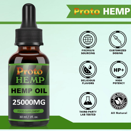 Proto Hemp Oil Drops, 25000mg, CO2 Extracted, 30ml