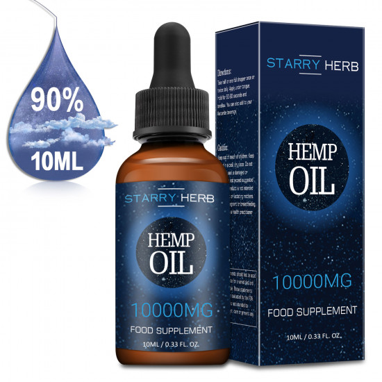 Starry Herb 10000mg 10ml 90%, Broad Spectrum Hemp Oil Extract, Premium Organic Extracts, Made in USA