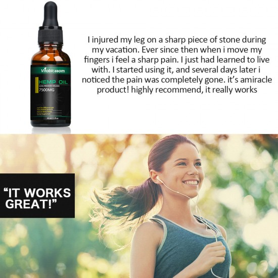 Vitablossom Hemp Oil Drops, Broad Spectrum Extract Hemp Oil, Great for Anxiety Pain (7500mg)