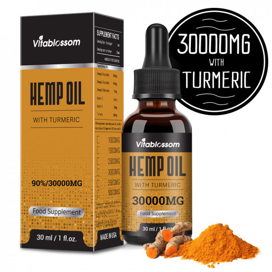 Vitablossom Turmeric Hemp Oil, 30000mg 90% 30ml, New Arrival promotion