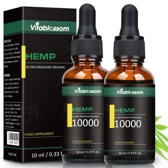 Vitablossom Hemp Oil Drops 10000ml 10ml, Buy one get one free (2Pcs)