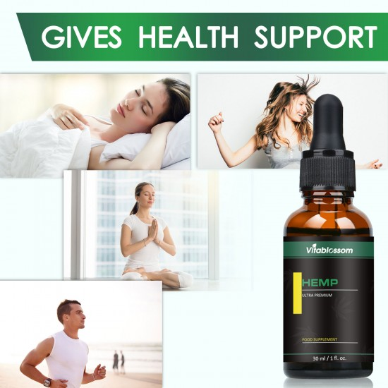 Vitablossom Hemp Oil Drops, 15000mg 30ml, Great for Anxiety Pain Relief Sleep Support