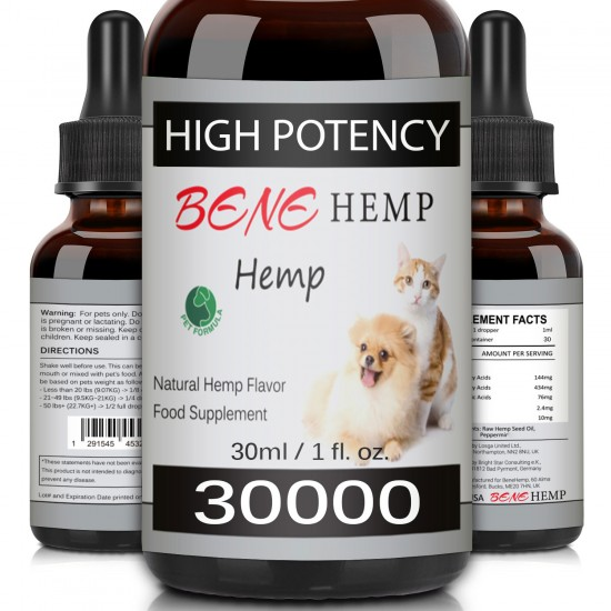 [Not Available in UK] BENEHEMP Oil for Dogs & Cats - 30000mg -100% A Organic Pet Hemp Oil
