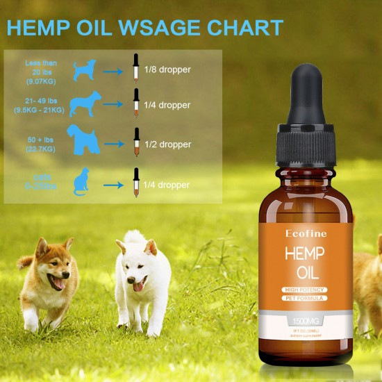 [Not Available in UK] Broad Spectrum Ecofine Hemp oil for Dogs 1500mg, Organic Hemp oil for Pets, FDA Approved