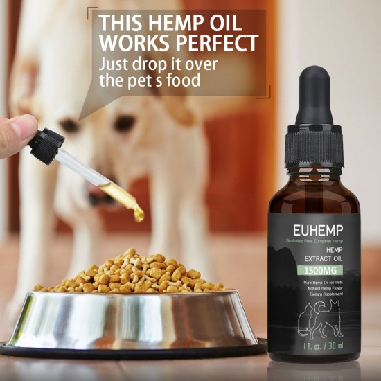 [Not Available in UK] EUHEMP Oil for Dogs & Cats - 1500mg -100% A Organic Pet Hemp Oil