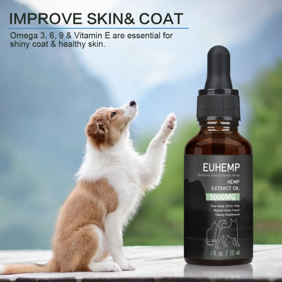 EUHEMP Oil Anxiety Relief for Dogs & Cats - 5000mg - Supports Hip & Joint Health