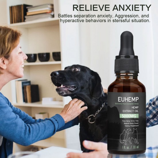 [Not Available in UK] EUHEMP Oil Anxiety Relief for Dogs & Cats - 5000mg - Supports Hip & Joint Health