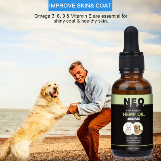 [Not Available in UK] NEOHEMP Oil Anxiety Relief for Dogs & Cats - 4000mg - Supports Hip & Joint Health