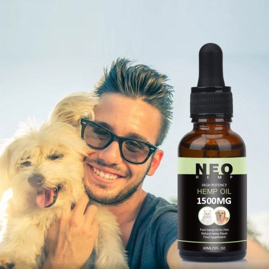 [Not Available in UK] NEOHEMP Oil Anxiety Relief for Dogs & Cats - 1500mg - Supports Hip & Joint Health