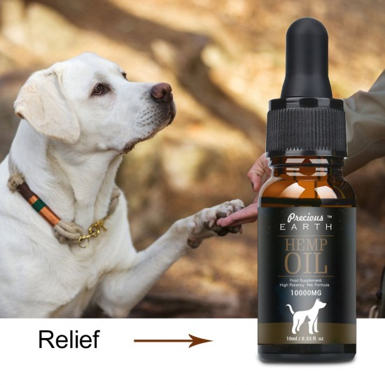 [Not Available in UK] Precious Earth HEMP Oil for Dogs & Cats - 10000mg -100% A Organic Pet Hemp Oil