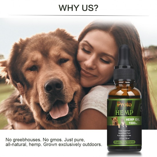 [Not Available in UK] Broad Spectrum Hemp oil for Pets, ProtoHemp Hemp oil for Dogs 1500mg, Great for Pain Relief