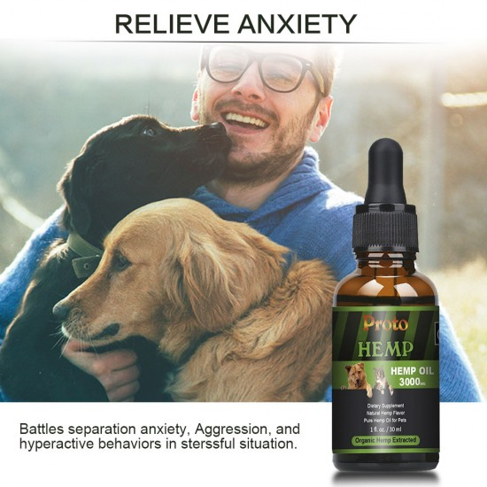 [Not Available in UK] Proto Broad Spectrum Hemp oil for Dogs, 3000mg, Great for Pain Relief , Anxiety, Calming, Pet Recovery and Sleep